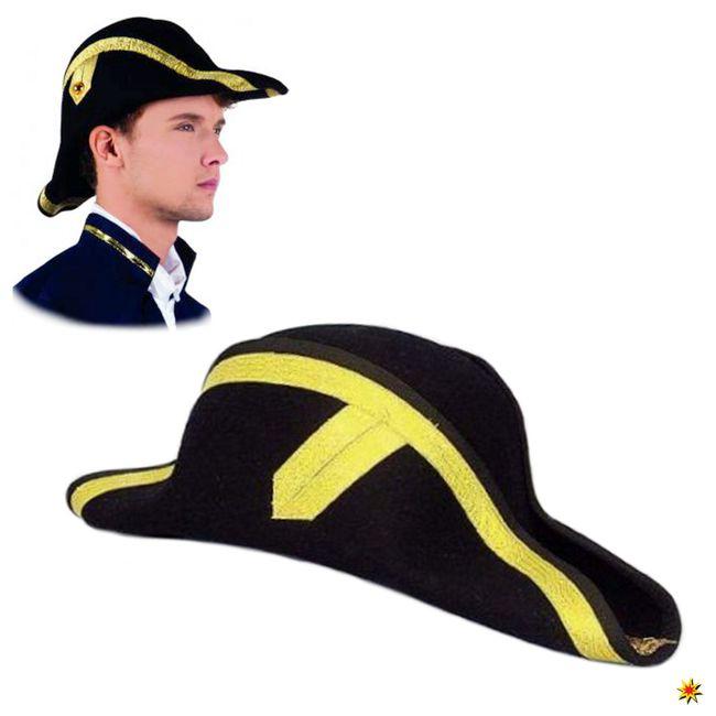 Zweispitz schwarz Borte gelbgold Karneval Fasching Admiral Pirat Offizier Hut