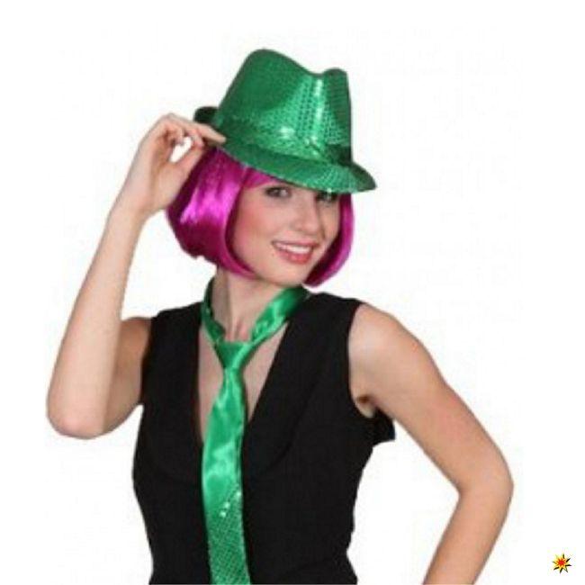 Damen Hut Discoqueen grün Fasching Karneval Paillettenhut St. Patrick Las Vegas
