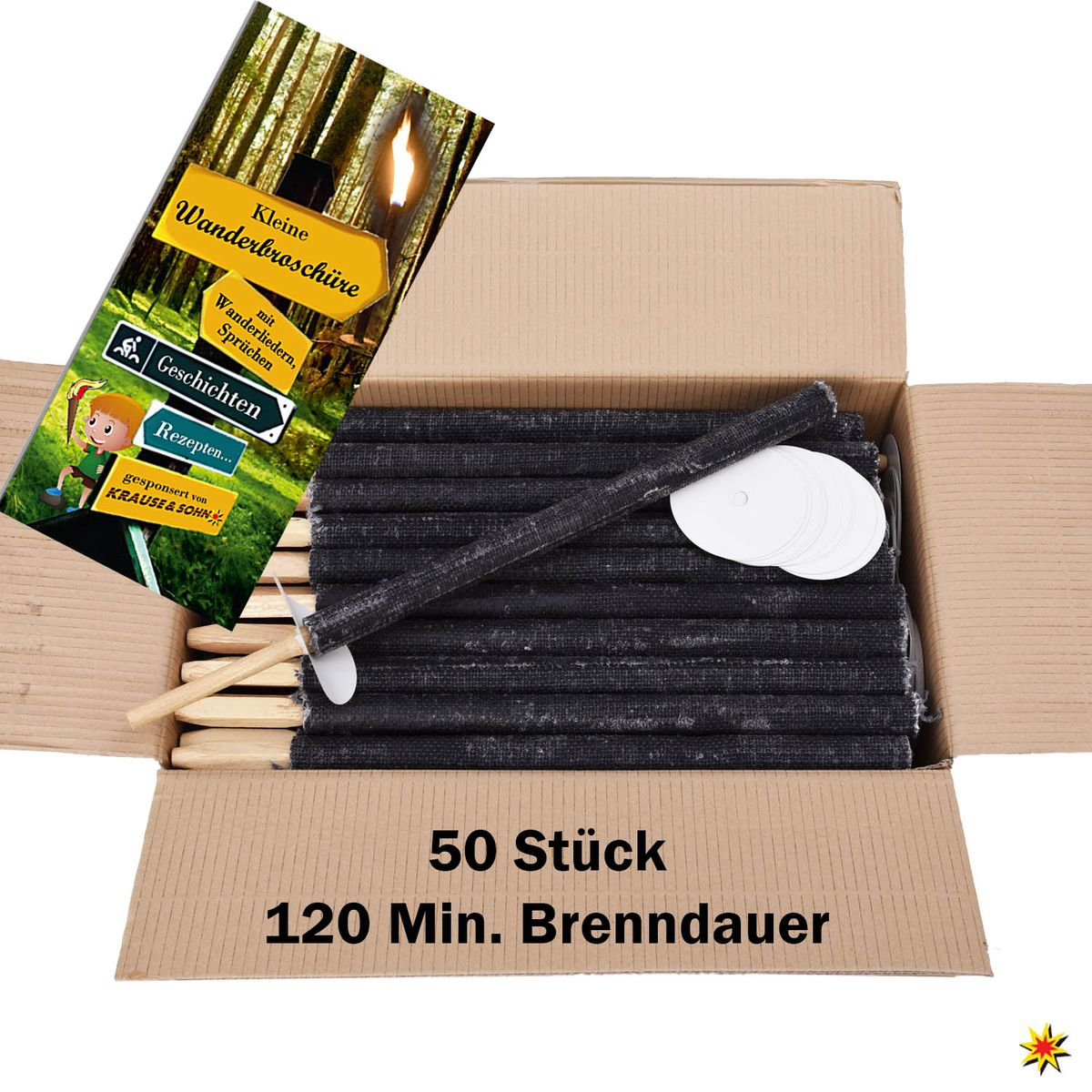50 Fackeln 120 Min. Brennzeit Wachsfackeln Fackelwanderung