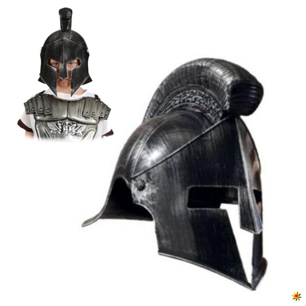 Kinder Helm Gladiator schwarz/silber Fasching Karneval Römer Antikes Rom