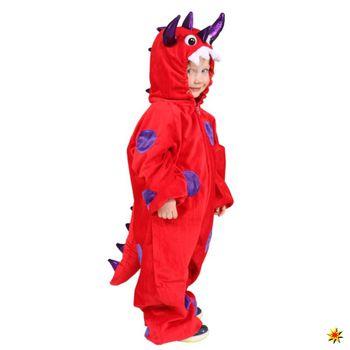 Kostüm kleiner Drache, Overall rot-lila