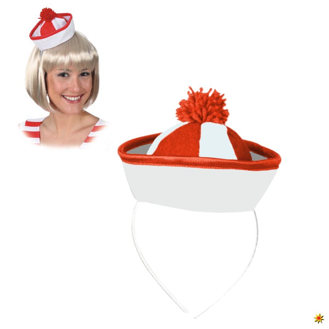 Minihut Marine weiß-rot Haarreif mit Hut Sailor Fasching Karneval