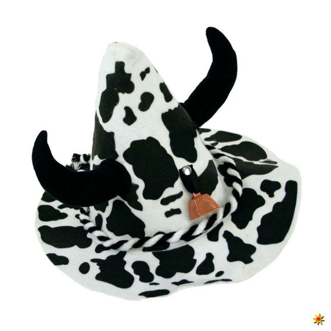 Kuh Hut mit Hörnern Trachtenhut Oktoberfest Sepplhut