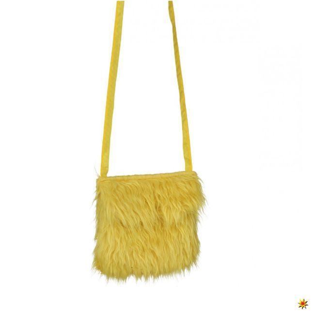 Hippie Plüsch Tasche Gelb Kostüm Zubehör Fasching