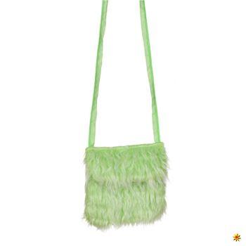 Plüschtasche grün, Hippie Felltasche