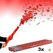 3x Shooter rote Herzen 60cm, Konfettikanone