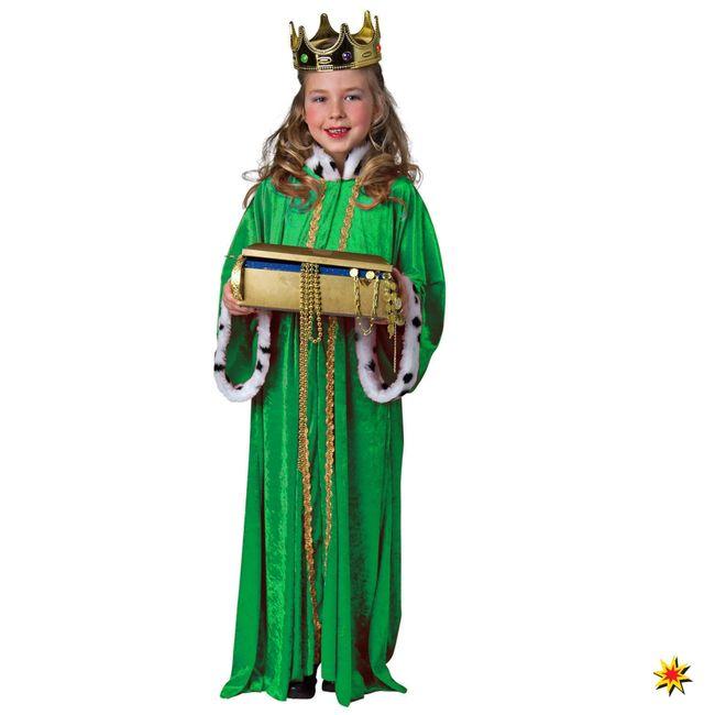 Kinder Königsmantel grün Weihnachten Krippenspiel Fasching Karneval