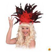 Samba Federschmuck rot, Haarreif mit Federn