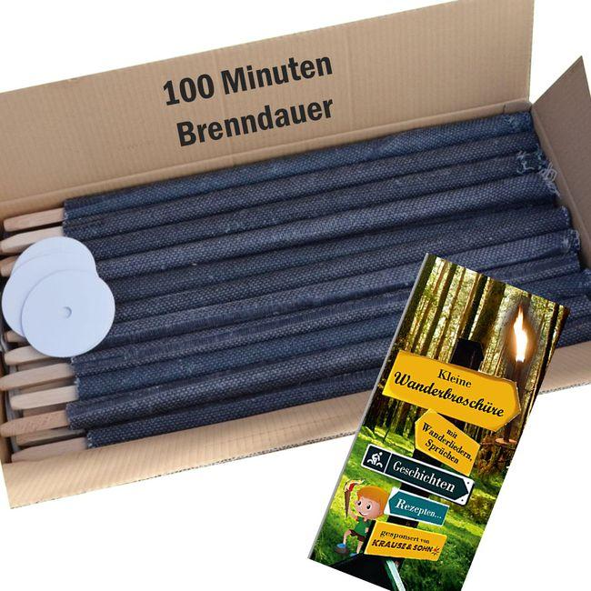 50 Qualitäts-Fackeln 100 Min. Brennzeit 60cm Fackel Made in Germany Wachsfackel