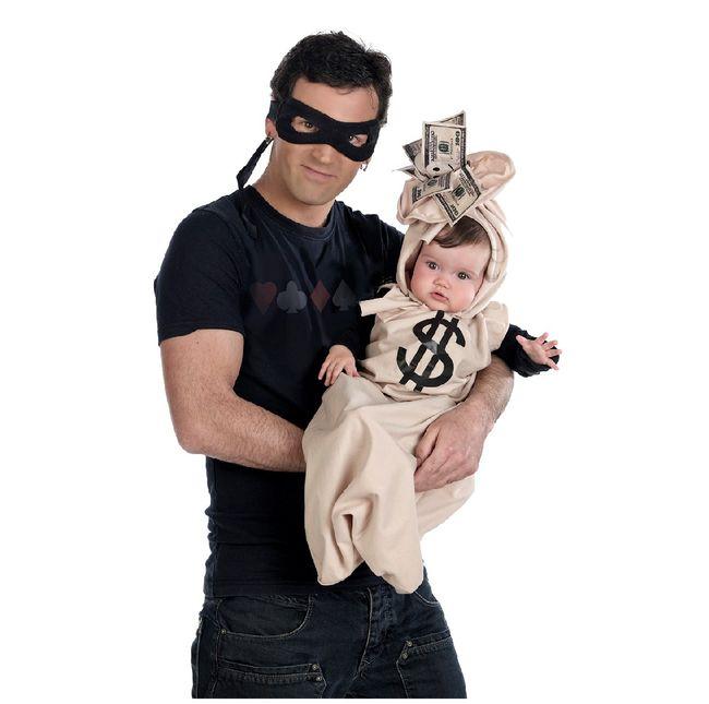 Baby Kostüm Babysack Dollar mit Gaunermaske Karneval Fasching