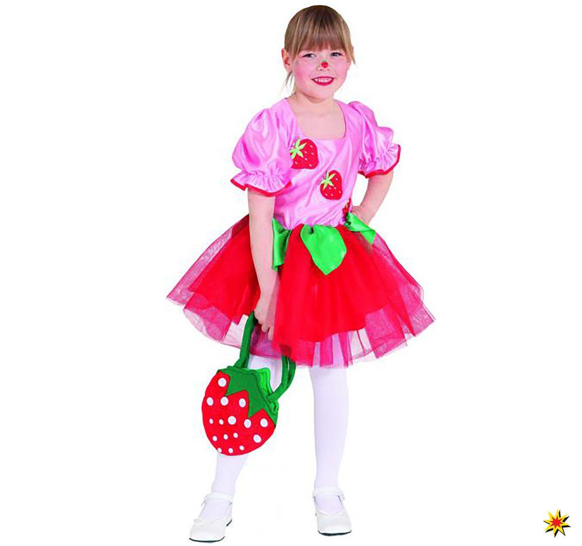 Kostüm Erdbeermädchen Kleid Erdbeer-Fee Karneval Fasching Karneval