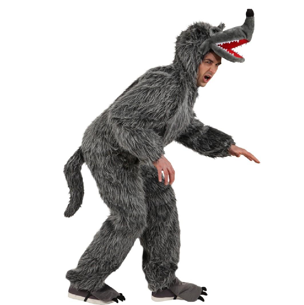 Herren Kostüm Grauer Wolf Overall Märchen Fasching Karneval
