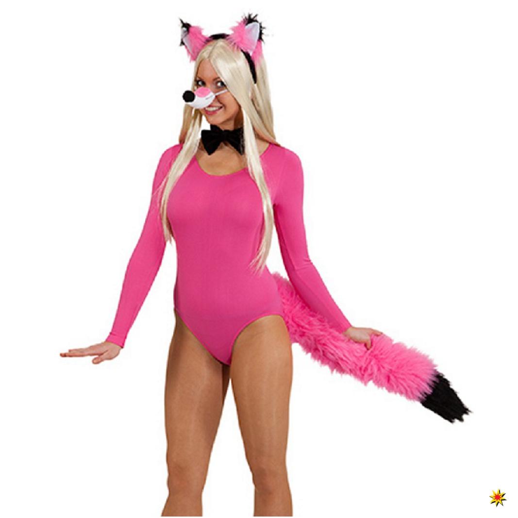 Kostüm Fuchs 4-tlg. Fuchs-Set pink-schwarz Schwanz Haarreif Nase Fliege