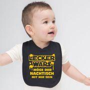 """Unisex Baby Lätzchen Spruch  """"Lecker wars ..."""" schwarz Geschenk zur Geburt"""