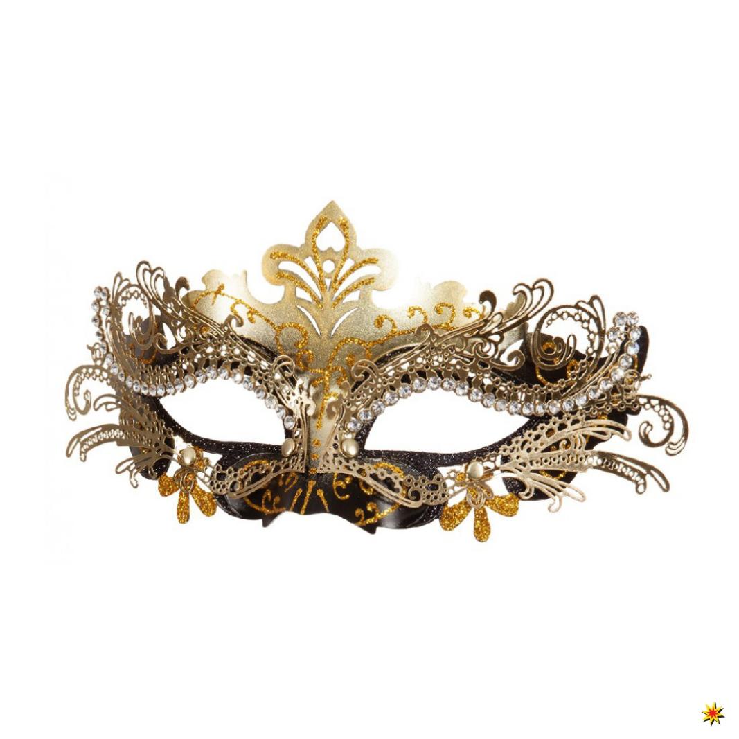 Metallmaske schwarz/gold Maskenball Fasching Venedig 2