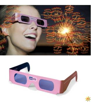"Rosa Brille Motiv ""Happy Birthday"" - Geburtstag"