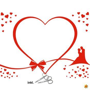 """Hochzeitslaken """"Herz mit Brautpaar"""" zum Ausschneiden Herzlaken"""