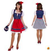 Dirndl Franzi blau-rot Damen Kleid mit Schürze Oktoberfest Wiesn Party Fasching