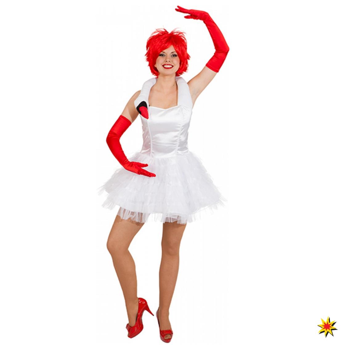 Kostüm weißer Schwan Damen Tüll-Kleid Schwanensee Fasching Tanzkostüm 2