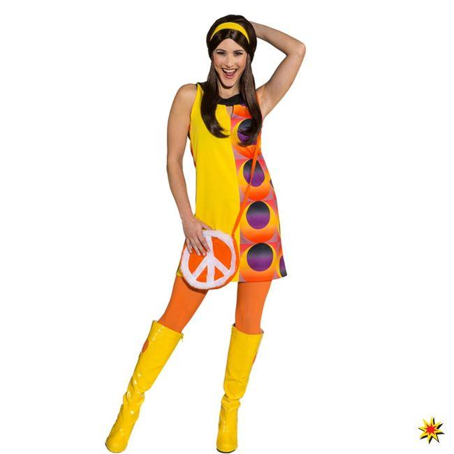 70er Jahre Kostüm Kleid orange/gelb Kreismuster Retrostyle Fasching Paarkostüm
