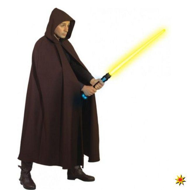 Umhang braun Einhgr. mit Kapuze Fasching Karneval Mittelalter Krieger Star Wars 2