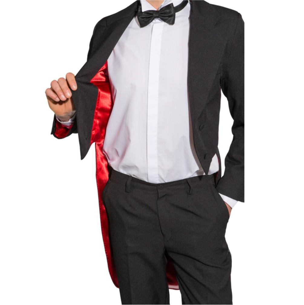 Frack schwarz mit rotem Futterstoff Kostüm Show Revue Theater Kleinkunst