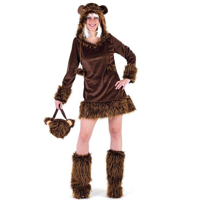Damen Kostüm Bär Kleid mit Kapuze inkl. Stulpen Bärenkostüm braun