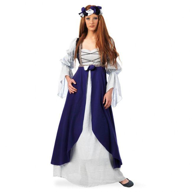Kostüm Burgfräulein Malena S- XL Kleid blau Mittelalter Burgdame Magd Fasching Karneval Mittelalterfest Mottoparty SALE