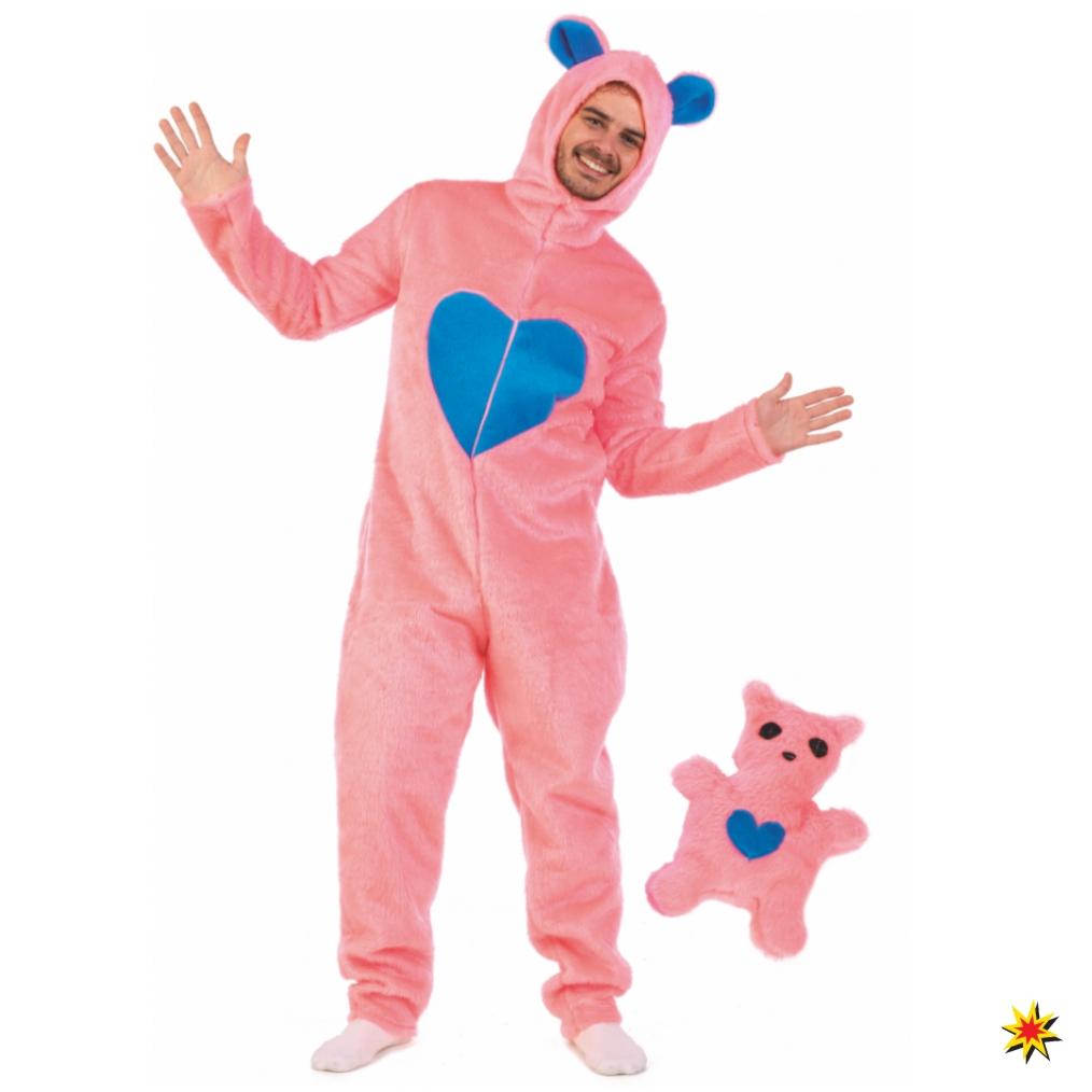 Herren Kostüm rosa Bärchen Overall Stofftier Spaßkostüm Bär Fasching