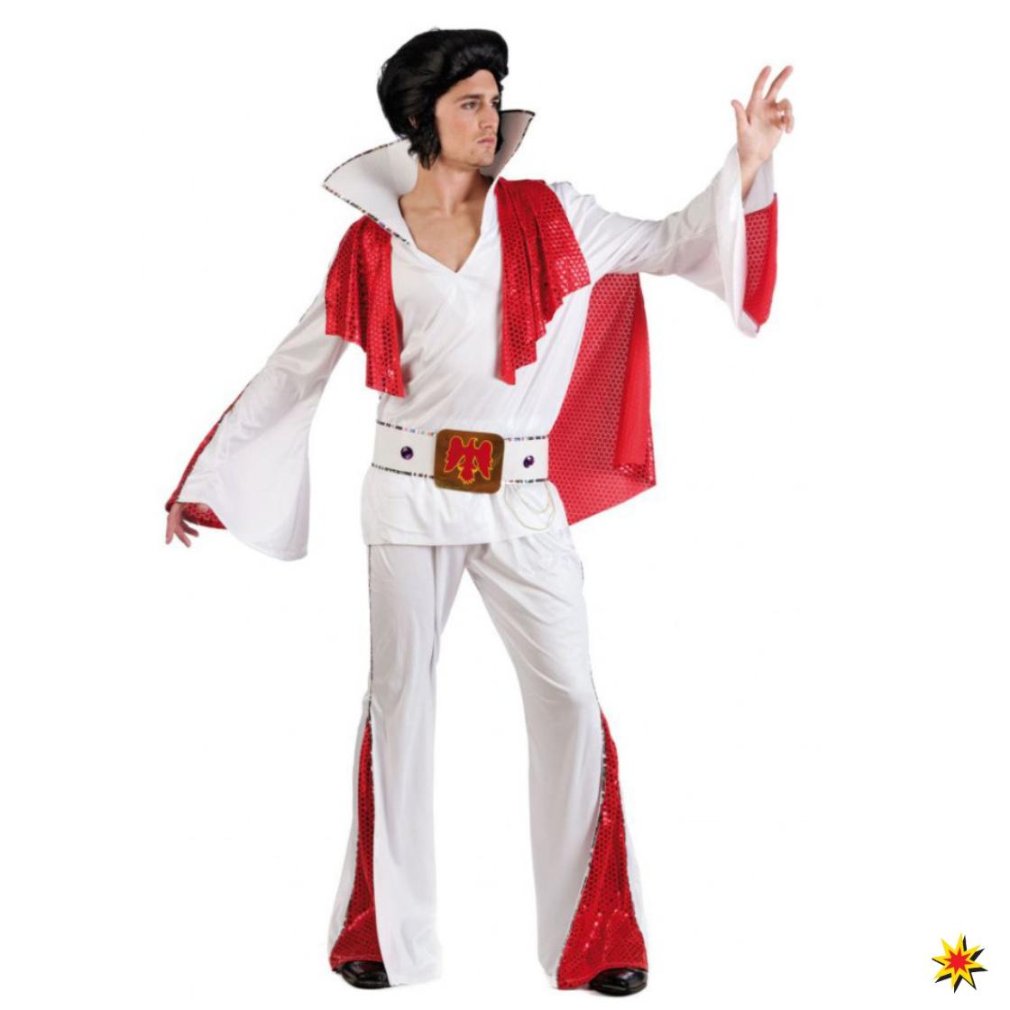 Kostüm Rockstar Elvis Anzug rot-weiß 50er Jahre Fasching Karneval Sänger 2