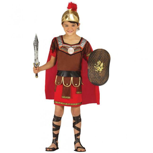 Römer Kostüm Gladiator Rasso für Kinder 3-12 Jahre rot-braun Fasching Karneval Mottoparty Kindergeburtstag