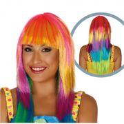 Damen Perücke Regenbogen Langhaar bunt Kostüm-Zubehör