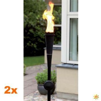 2 Gartenfackeln - Stabfackeln für Lampenöl - schwarz