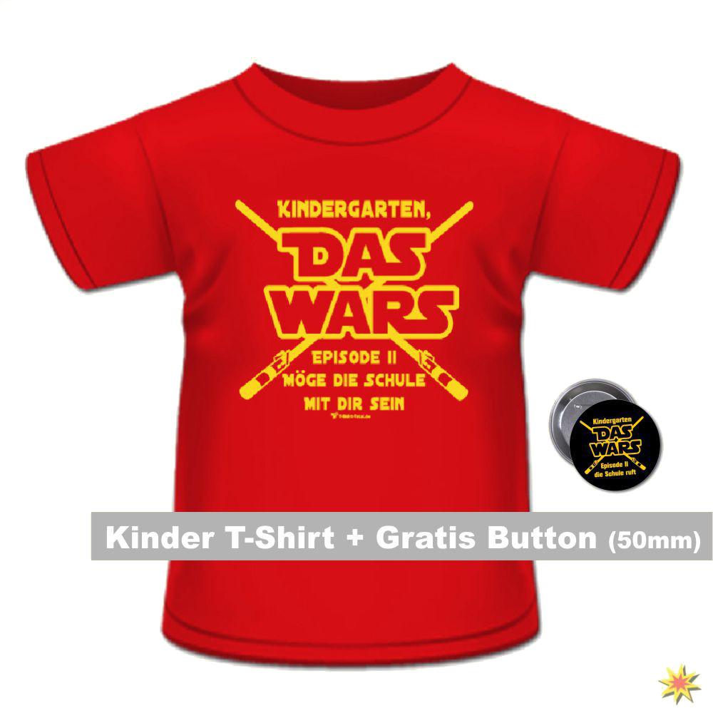 Schulanfang T-Shirt mit Anstecker rot Kindergarten Das Wars Schuleingang Geschenkidee