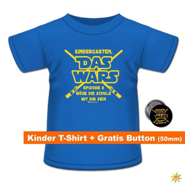 Schulanfang T-Shirt mit Anstecker blau hellblau Kindergarten Das Wars Schuleingang Geschenkidee