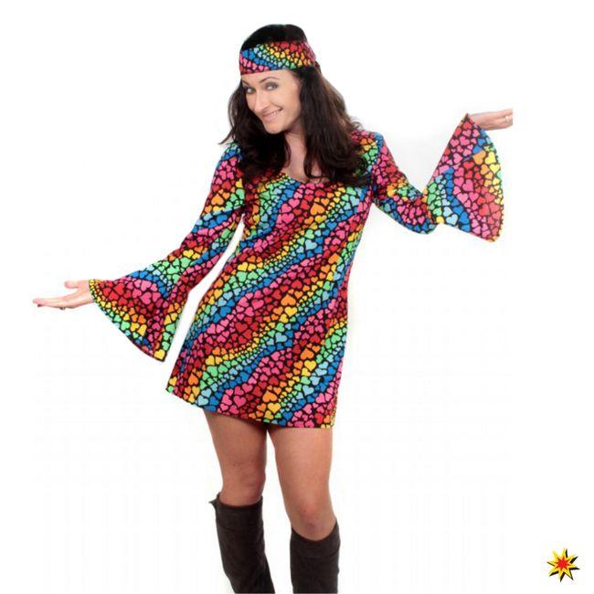 Hippie Kostüm bunt Damen Kleid Herzen Regenbogen Fasching Motttoparty