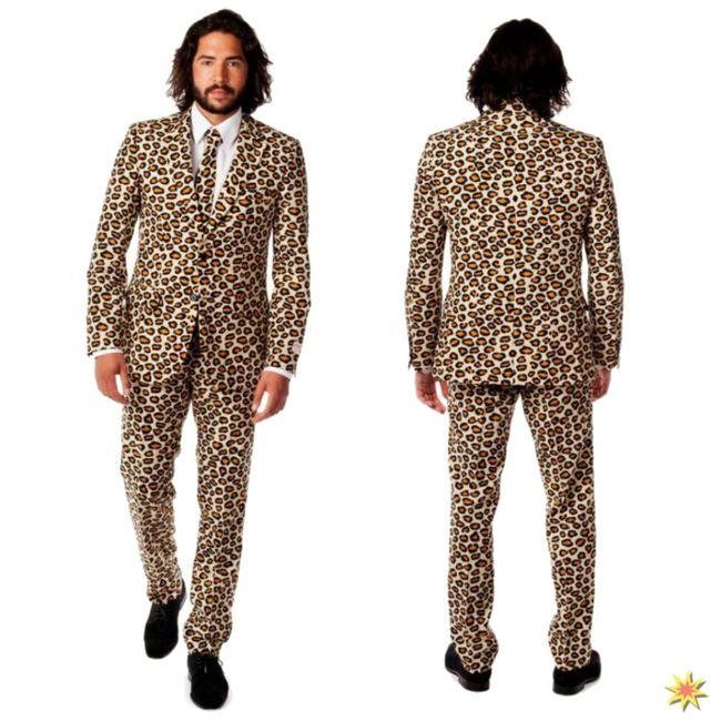 Herren Anzug Opposuit The Jag Leopard Outfit Fasching Kostüm Karneval