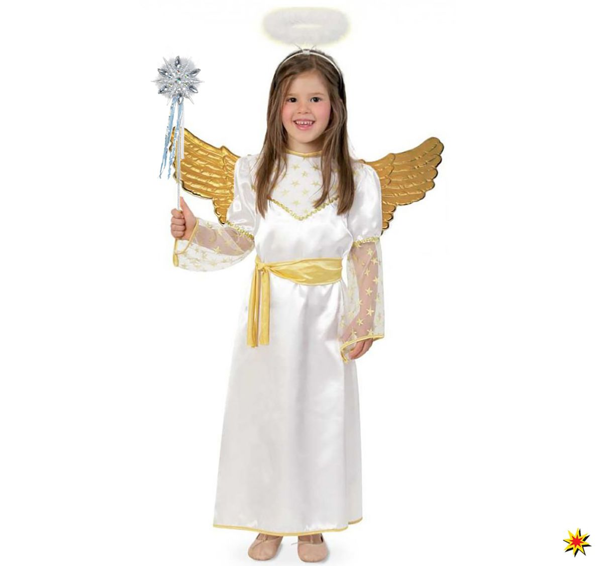 Komplett-Kostüm goldener Engel Krippenspiel Weihnachtsengel Kinder Kostüm Fasching Karneval Mottoparty Weihnachten