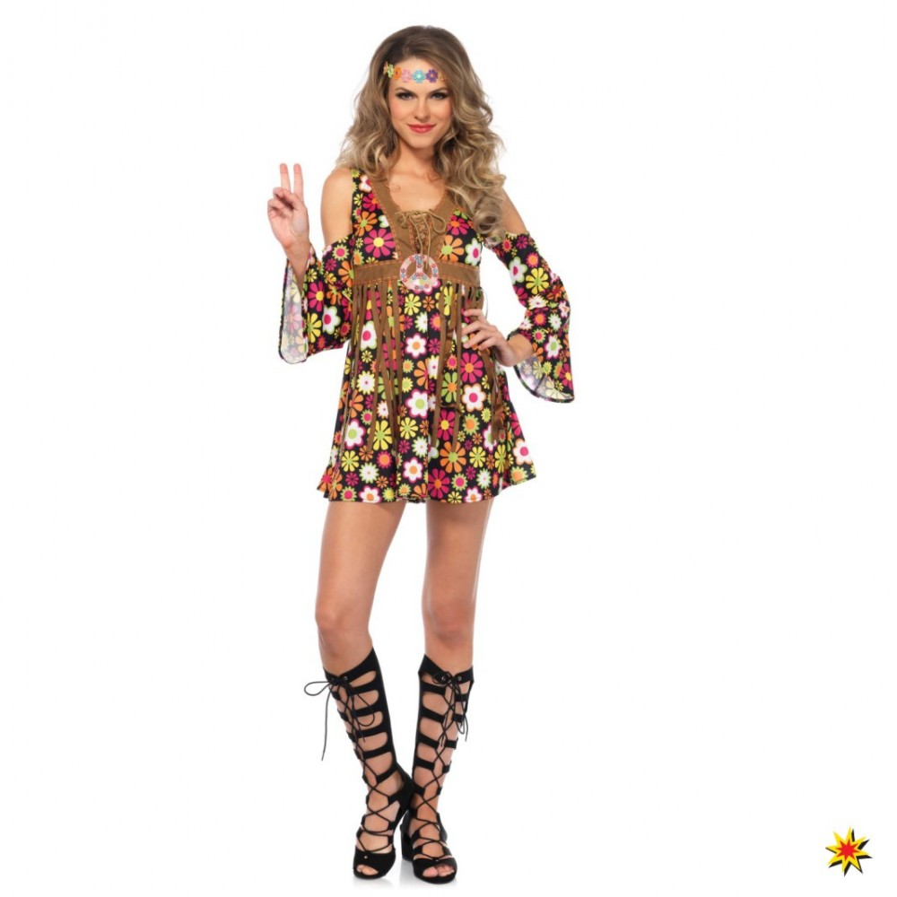 Hippie Kostüm Starflower Damen Kleid 70er Jahre Mottoparty Karneval