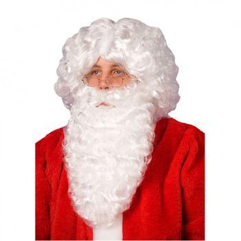 Weihnachtsmann Bart und Perücke, weiß
