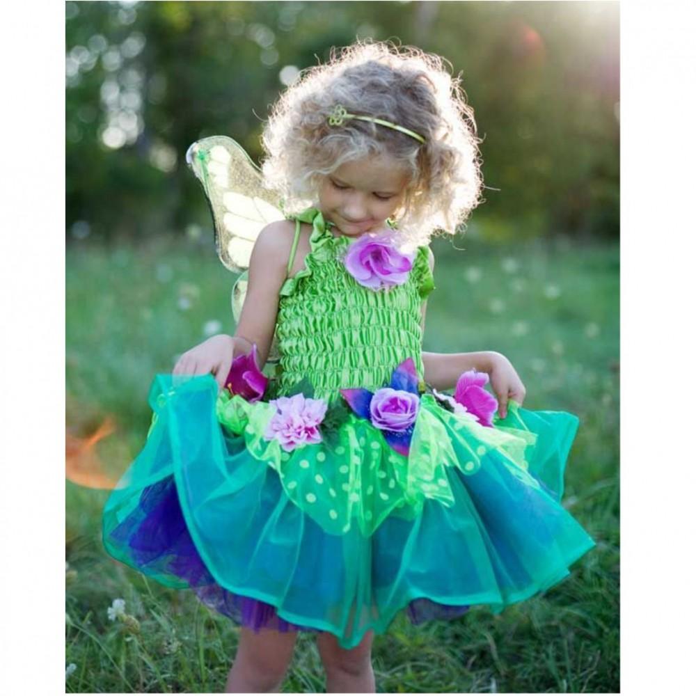 Kinder Feenkleid grün mit Flügeln Märchen Elfe Fee Kinderfasching