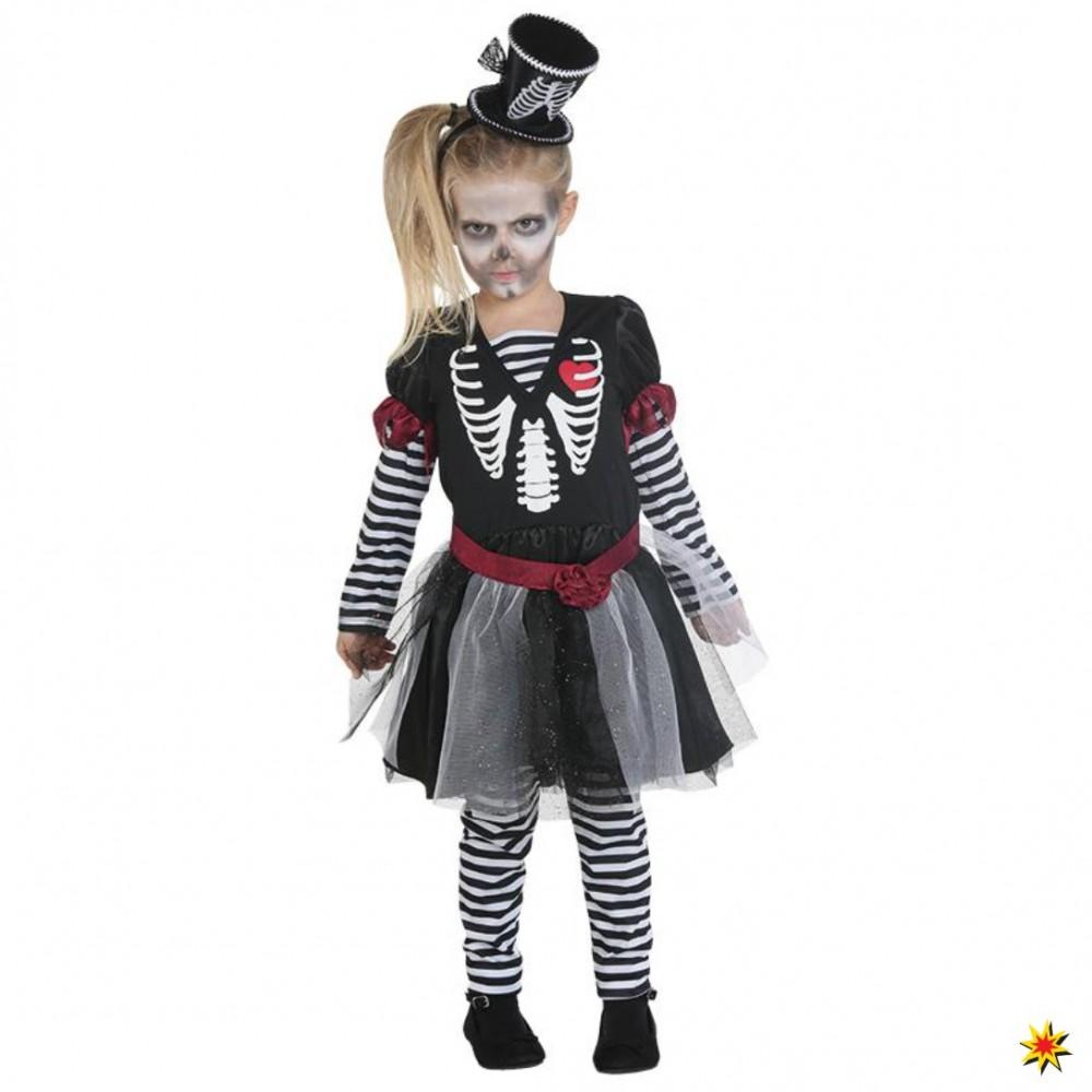 Skelettkleidchen Mädchen Kleid Leggings Halloween Kostüm