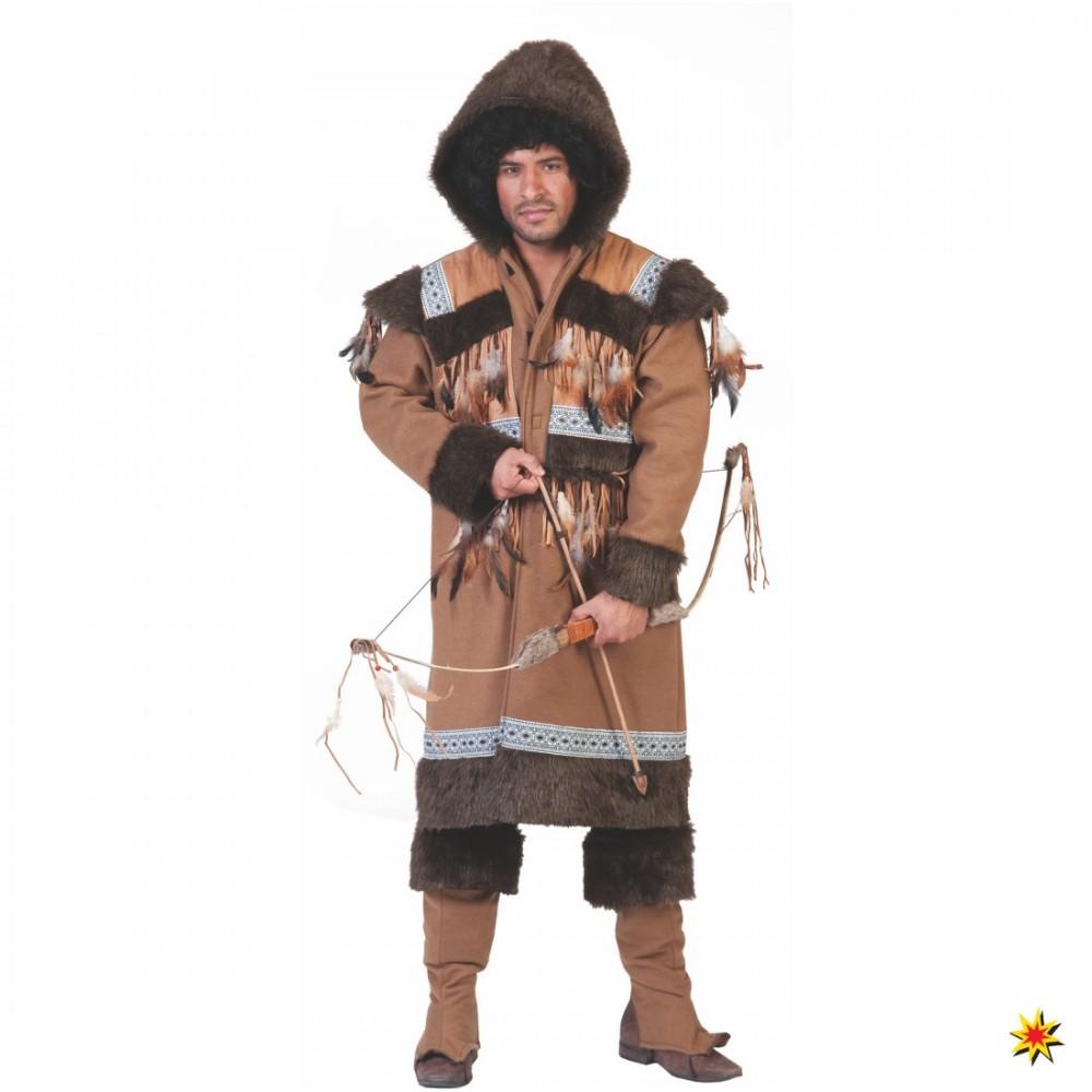 Kostüm Eskimo Mann Nalu Mantel Stulpen braun Alaska Inuit Karneval