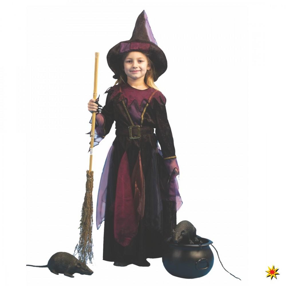 Kinderkostüm Hexe Frida Kleid Hexenhut schwarz-lila Halloween