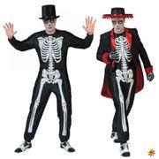 Kostüm Muertes Herren Skelett-Overall und Frack Tag der Toten Halloween