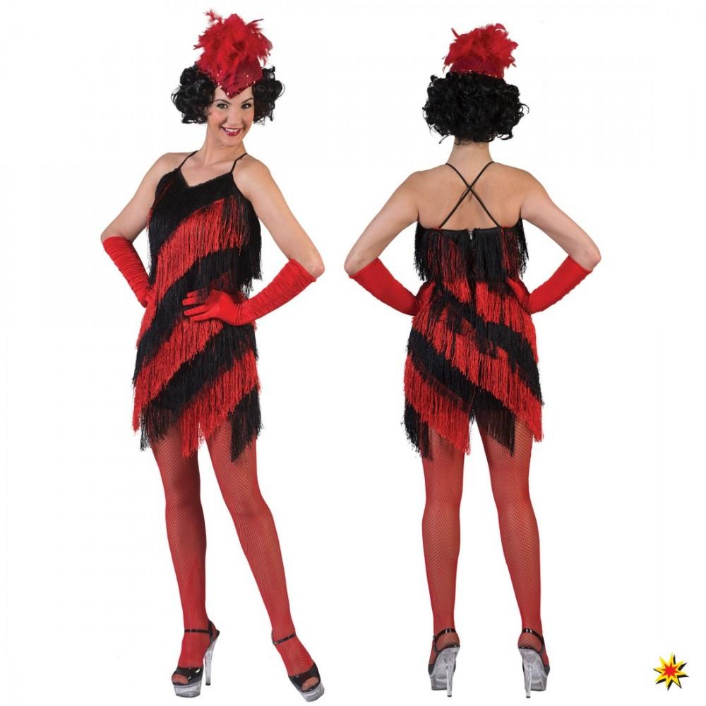 Charleston Kostüm Poppy Kleid rot-schwarz Karneval 20er Jahre Fasching