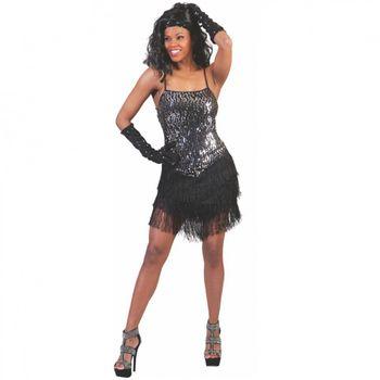 Charleston Kleid Daisy, schwarz-silber