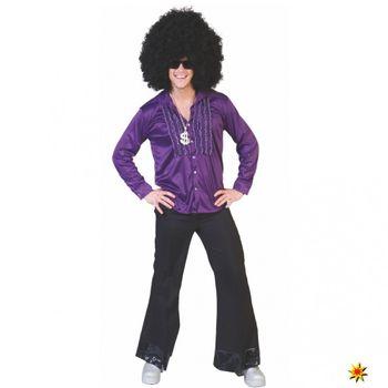 Rüschenhemd, Disco Shirt lila