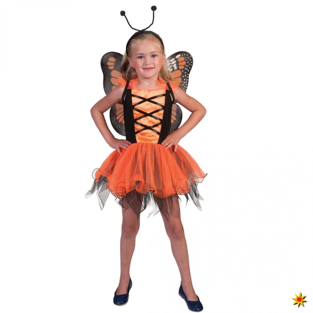 Kinderkostüm Schmetterling orange Kleid Flügel Haarreif Kinderfasching