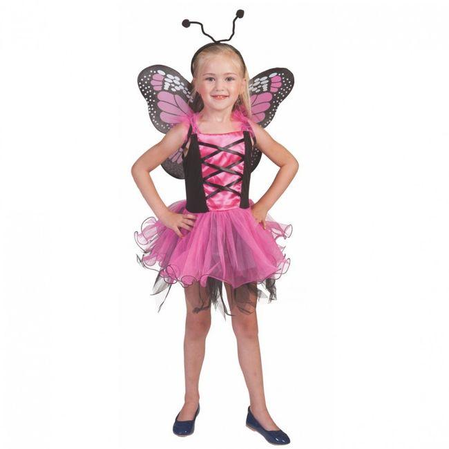 Schmetterling Kostüm pink für Kinder Gr. 104- 140 Kleid Flügel Haarreif Kinderfasching Tierkostüm Mottoparty Geburtstag